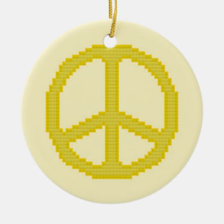 Yellow Peace Sign Ornament