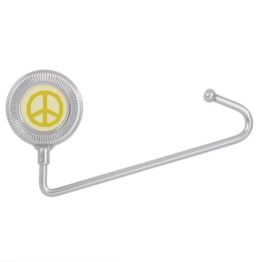 Yellow Peace Sign Purse Hanger Hooks