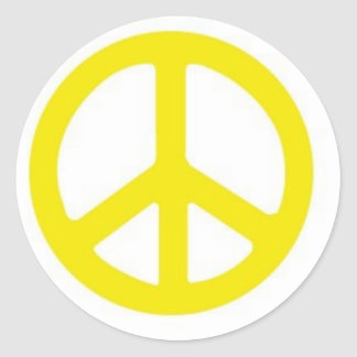 YELLOW PEACE SIGN :-) ROUND STICKER