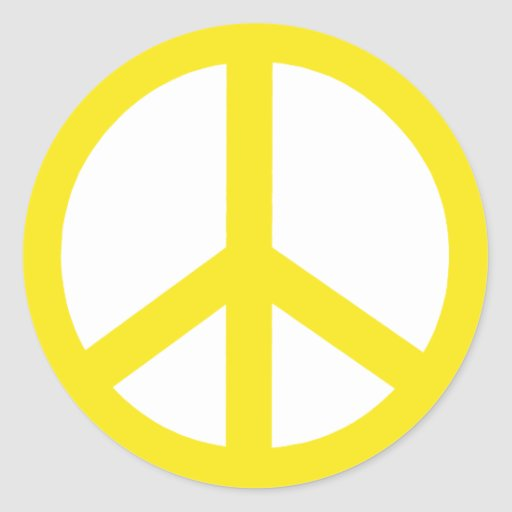 Yellow Peace Sign Stickers