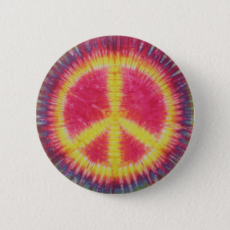 Yellow Peace Sign Tie Dye Flair Button