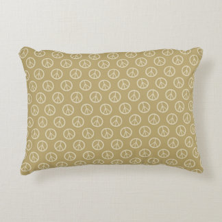 Yellow Peace Signs Accent Pillow