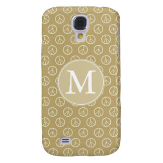 Yellow Peace Signs Monogram Galaxy S4 Case