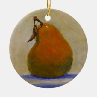 Yellow Pear Double-Sided Ceramic Round Christmas Ornament