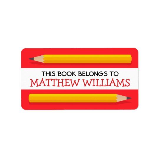 Yellow pencils on red bookplate school book label