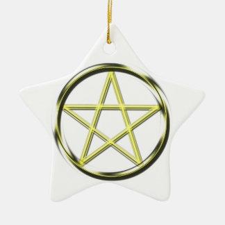 Yellow pentacle ceramic star decoration
