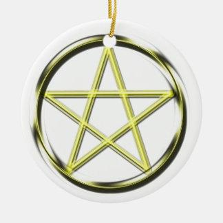 Yellow pentacle round ceramic decoration