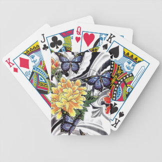 Yellow Peony and Butterfly Tattoo Design Bicycle Playing Cards