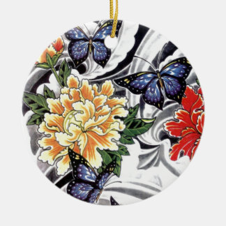 Yellow Peony and Butterfly Tattoo Design Christmas Ornament