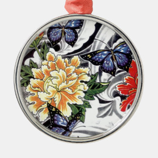 Yellow Peony and Butterfly Tattoo Design Silver-Colored Round Decoration