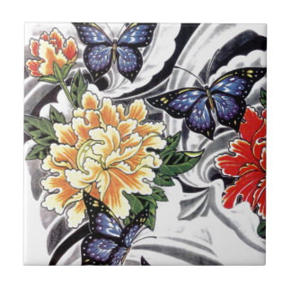 Yellow Peony and Butterfly Tattoo Design Small Square Tile