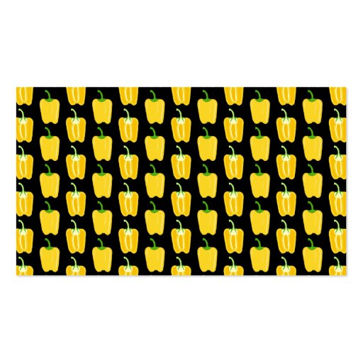 Yellow Peppers Pattern. On Black. Business Card Template