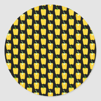 Yellow Peppers Pattern. On Black. Classic Round Sticker