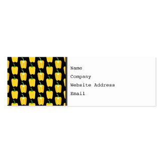 Yellow Peppers Pattern. On Black. Pack Of Skinny Business Cards