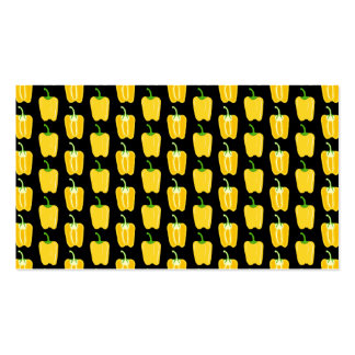 Yellow Peppers Pattern. On Black. Pack Of Standard Business Cards