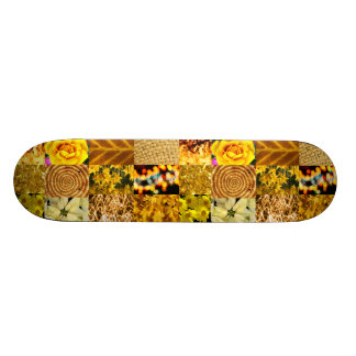 Yellow photography collage skateboard deck