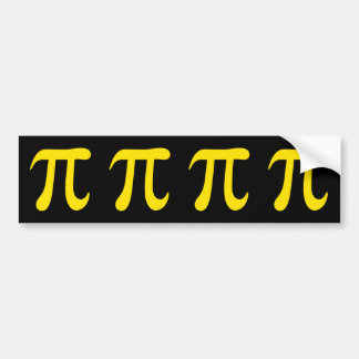 Yellow pi symbol on black background bumper sticker
