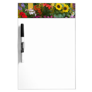 Yellow picket fence with flower garden in dry erase board