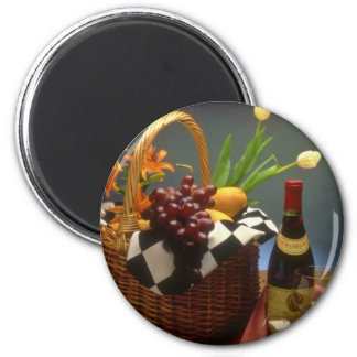 Yellow Picnic basket with wine, cheese, bread and 6 Cm Round Magnet