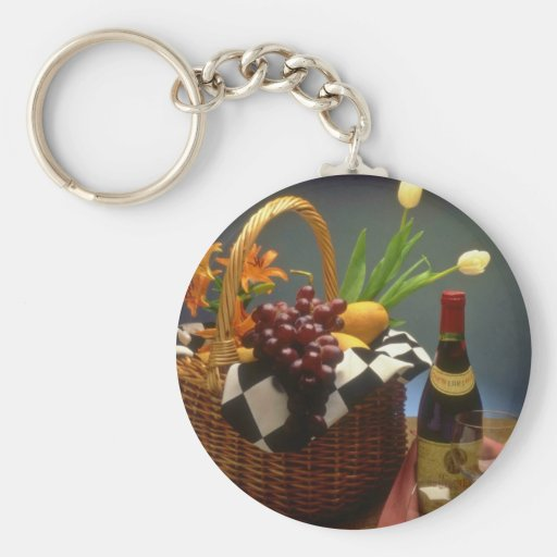 Yellow Picnic basket with wine, cheese, bread and Basic Round Button Key Ring