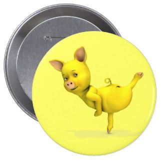 Yellow Pig Arabesque 10 Cm Round Badge
