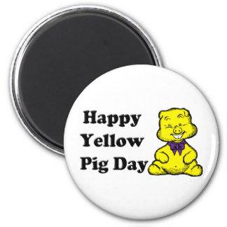 Yellow Pig Day Refrigerator Magnet