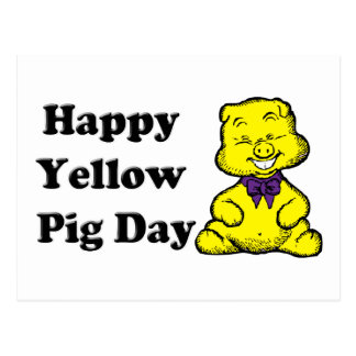 Yellow Pig Day Postcard