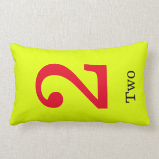 yellow pillow  with number two