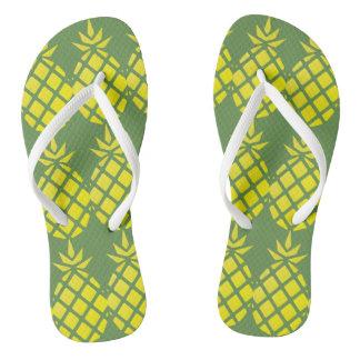 Yellow Pineapple Pattern Flip Flops