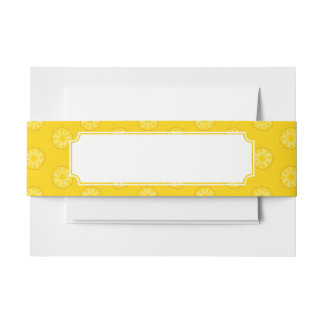 Yellow Pineapple Slices Pattern Invitation Belly Band