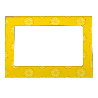 Yellow Pineapple Slices Pattern Magnetic Frames