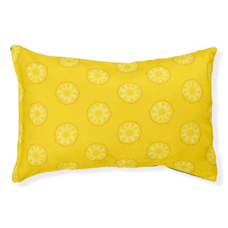 Yellow Pineapple Slices Pattern Pet Bed