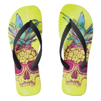 yellow pineapple sunglass skull unisex flip flops
