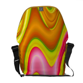 yellow pink abstract messenger bags