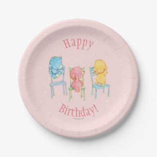 Yellow, Pink, and Blue Bears on Chairs 7 Inch Paper Plate