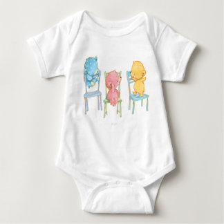 Yellow, Pink, and Blue Bears on Chairs Baby Bodysuit