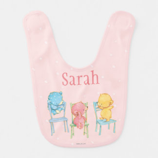 Yellow, Pink, and Blue Bears on Chairs Bib