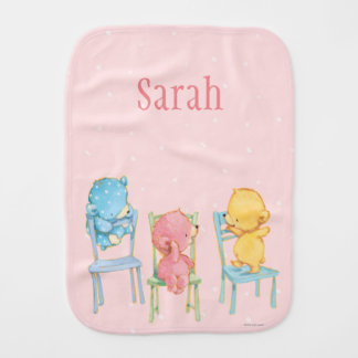 Yellow, Pink, and Blue Bears on Chairs Burp Cloth