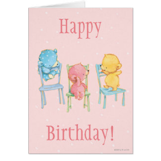 Yellow, Pink, and Blue Bears on Chairs Card
