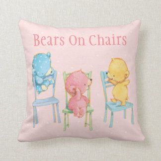 Yellow, Pink, and Blue Bears on Chairs Cushion
