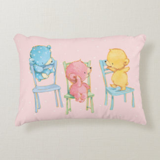 Yellow, Pink, and Blue Bears on Chairs Decorative Cushion