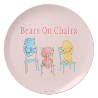 Yellow, Pink, and Blue Bears on Chairs Dinner Plates