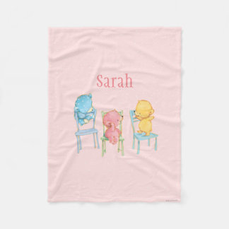Yellow, Pink, and Blue Bears on Chairs Fleece Blanket