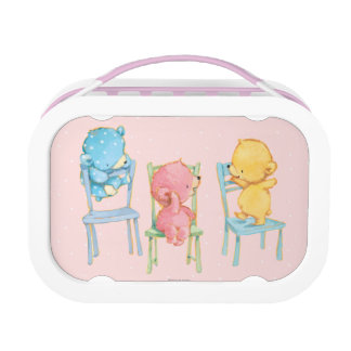 Yellow, Pink, and Blue Bears on Chairs Lunch Box