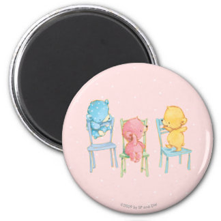 Yellow, Pink, and Blue Bears on Chairs Magnet