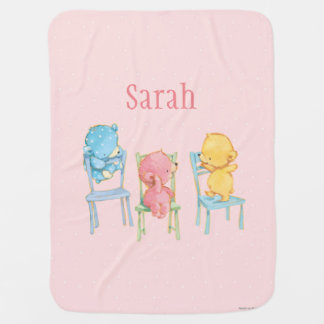 Yellow, Pink, and Blue Bears on Chairs Receiving Blanket