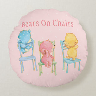 Yellow, Pink, and Blue Bears on Chairs Round Cushion