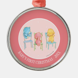 Yellow, Pink, and Blue Bears on Chairs Silver-Colored Round Decoration