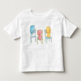 Yellow, Pink, and Blue Bears on Chairs Toddler T-Shirt