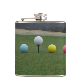 YELLOW, PINK AND WHITE  Golf Balls Hip Flask